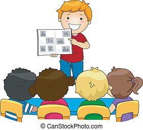 Kid Photo Album - Illustration of a Kid Showing a Photo...