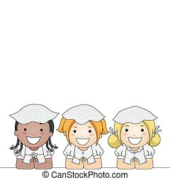 Communion Kids - Illustration of Kids Having Their First...