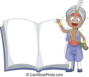 Genie Book - Illustration of a Genie Standing Beside a Book