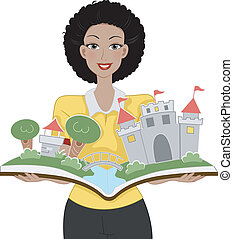 Storybook - Illustration of a Teacher Holding a Storybook