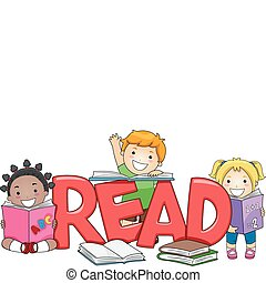 Kids Reading - Illustration of Kids Reading Different Books