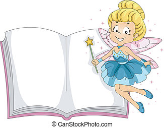 Fairy Book - Illustration of a Fairy Hovering Beside a Book