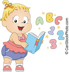 Toddler Book - Illustration of a Toddler Reading a Book