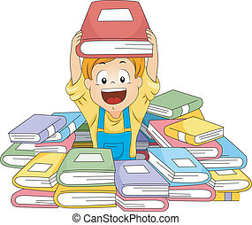 Book Piles - Illustration of a Kid Surrounded by Piles of...