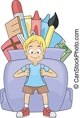 School Backpack - Illustration of a Kid Carrying a Huge...