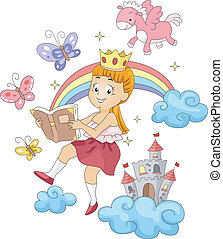 Kid Reading - Illustration of a Kid Reading a Book with...