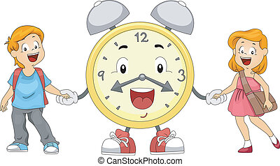 Kids Alarm Clock - Illustration of Kids and an Alarm Clock...