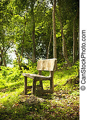 Forest Seat - An empty seat in a fantasy forest