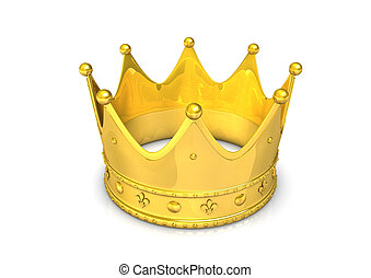 Golden Crown - 3d illustration of golden crown, isolated on...