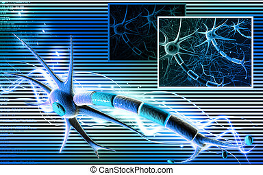 Neuron - Digital illustration of neuron in colour background...