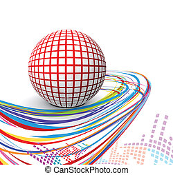 3d sphere with wave line design - abstract vector 3d sphere...