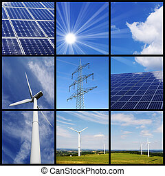 Green energy collage: Solar panels, wind power and pylon