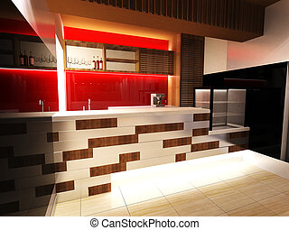 Bar Interior Design with modern decoration 3D rendering