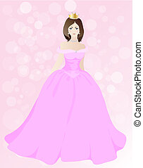 Princess - Fairytale princess in pink ball gown EPS10 vector...