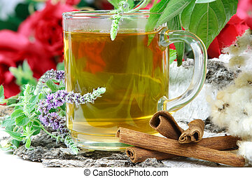 Herbal tea with mentha and sage