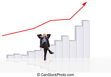 Businessman with a chart or graph. Isolated over a white background