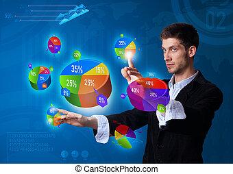hombre de negocios, botón, planchado, Pastel, gráfico