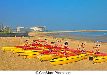 water bikes for rent in longkuo beach in china