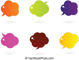 Vibrant colorful speech vector icons isolated on white