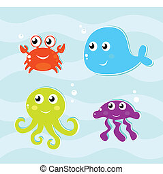 Cute water animals icons collection isolated on water suface