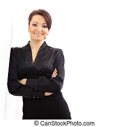 portrait of a pretty young business woman standing isolated...