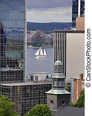 downtown Halifax - looking past the tall buildings of...
