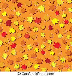 Autumn seamless background with maple leaves, vector illustration