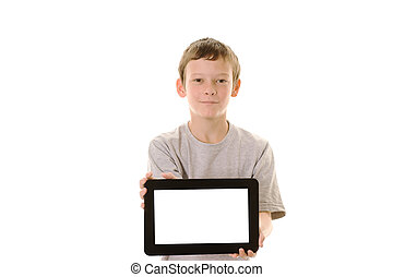 Tablet computer - Studio portrait of preteen boy holding a...