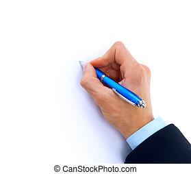 fim, cima, human, mão, caneta