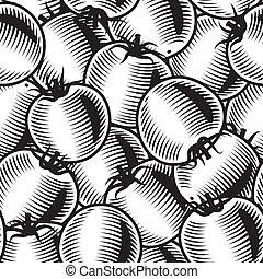 Seamless tomato background b&w - Seamless tomato background...