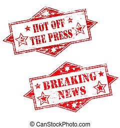 HOT OFF THE PRESS and BREAKING NEWS Rubber Stamp...