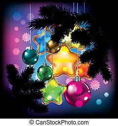 Christmas balls and snowflakes on black - Christmas balls...