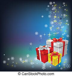 Christmas gifts and snowflakes on blue background