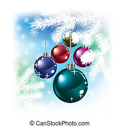 Christmas balls and snowflakes on white background