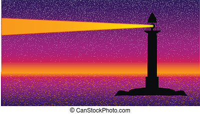 Seascape with lighthouse at night - vector illustration .