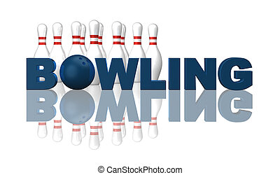 bowling - the word bowling, pins and ball on white...