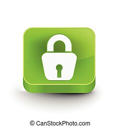 3d glossy lock icon, blue isolated on black background