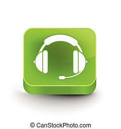 headset web icon design - vector glossy headset web icon...