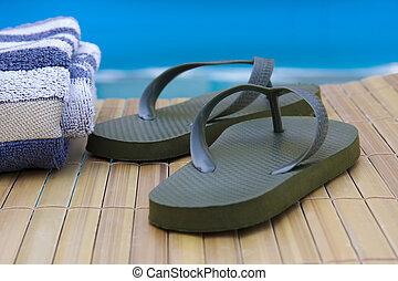 sandálias, férias, Toalhas, piscina