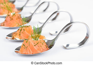 Salmon appetizers on spoon - Smoked salmon with cream cheese...