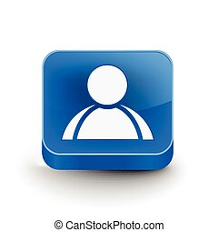3d glossy user icon, blue isolated on white background