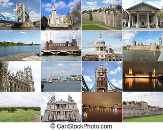 London landmarks - Famous landmarks and monuments collage,...
