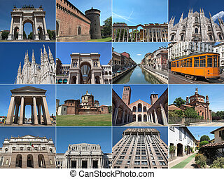 Milan landmarks - Famous landmarks and monuments collage in...