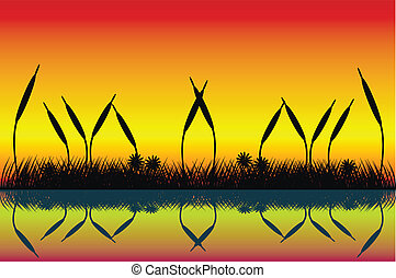 Lake night scene with grass silhouette - Vector illustration...