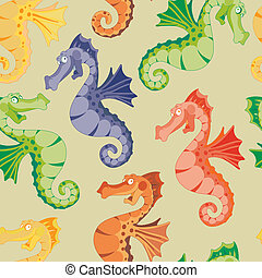 seamless rainbow sea horse - illustration of a seamless...