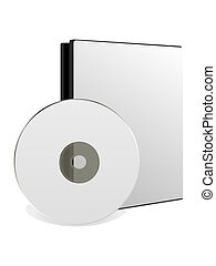 CD/DVD disk with box over white background