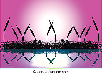 Lake night scene with grass silhouette