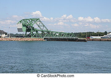 Swing Bridge - A green swing bridge spanning the Lasalle...