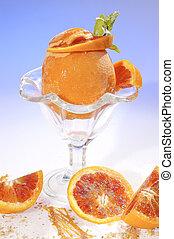 Frozen orange filled by orange sorbet
