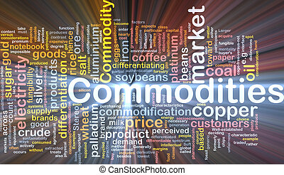 Commodities background concept glowing - Background concept...